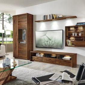 Мебель из дуба в зале современного стиля