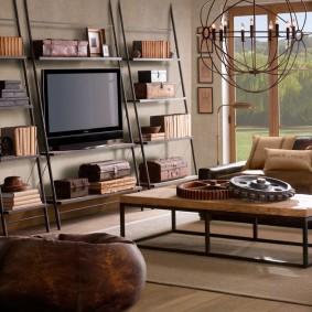 Металлический стеллаж в гостиной лофтной стилистики