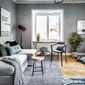 Окраска стен гостиной в серый цвет