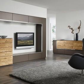 Лаконичная модель мебельной стенки с комодом