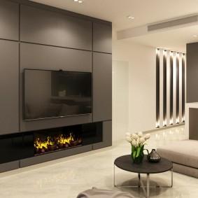 Встроенная мебель с фасадами серого цвета
