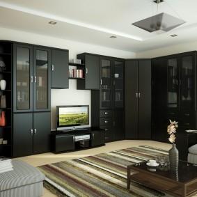 Черная стенка для просторной гостиной
