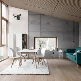 Зонирование гостиной комнаты белым ковром