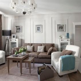 Отделка гостиной комнаты в светлых тонах