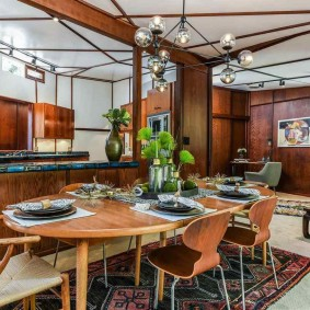 Дизайн столовой зоны в гостиной комнате