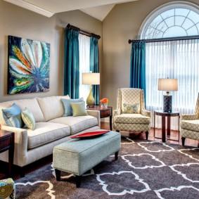 Оформление зоны отдыха в гостиной комнате