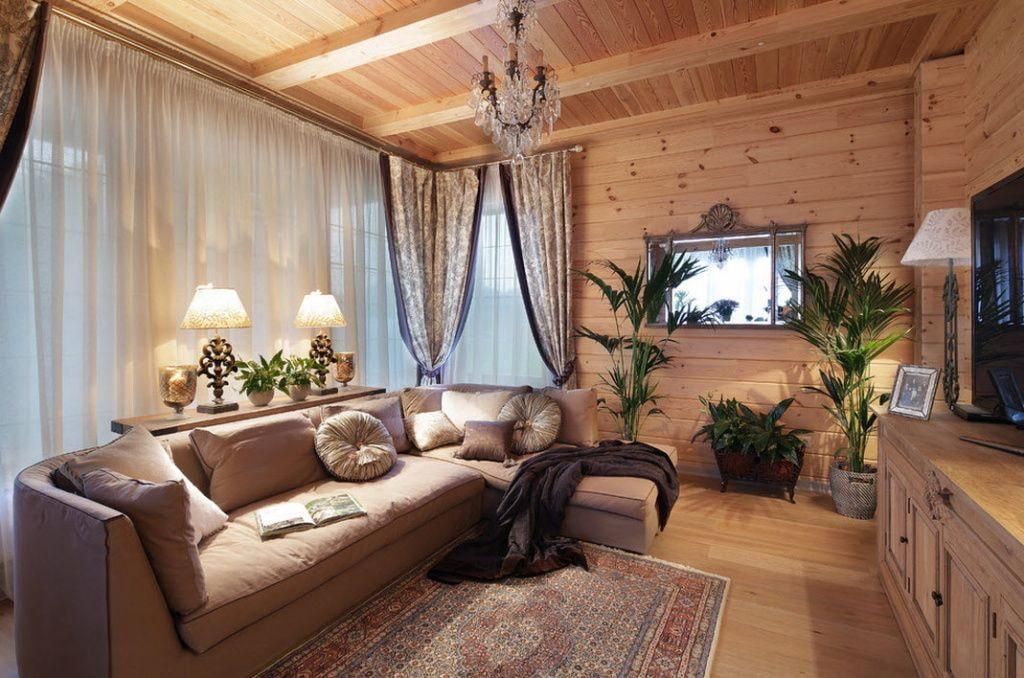 Освещение гостиной в деревянном доме из бруса