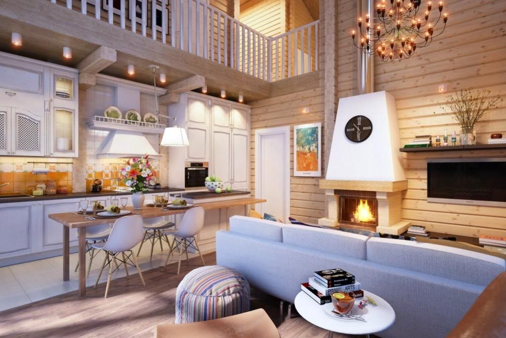 Камин в кухне-гостиной деревянного дома