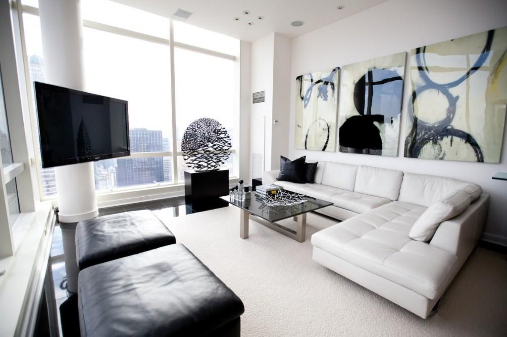 Подбор картин для гостиной комнаты в стиле хай-тек
