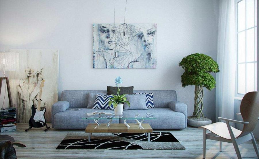 Малозаметная картина над диваном в гостиной