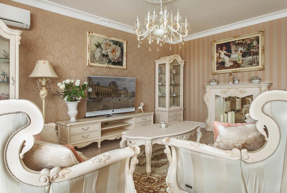 Подбор комбинации обоев в гостиную классического стиля