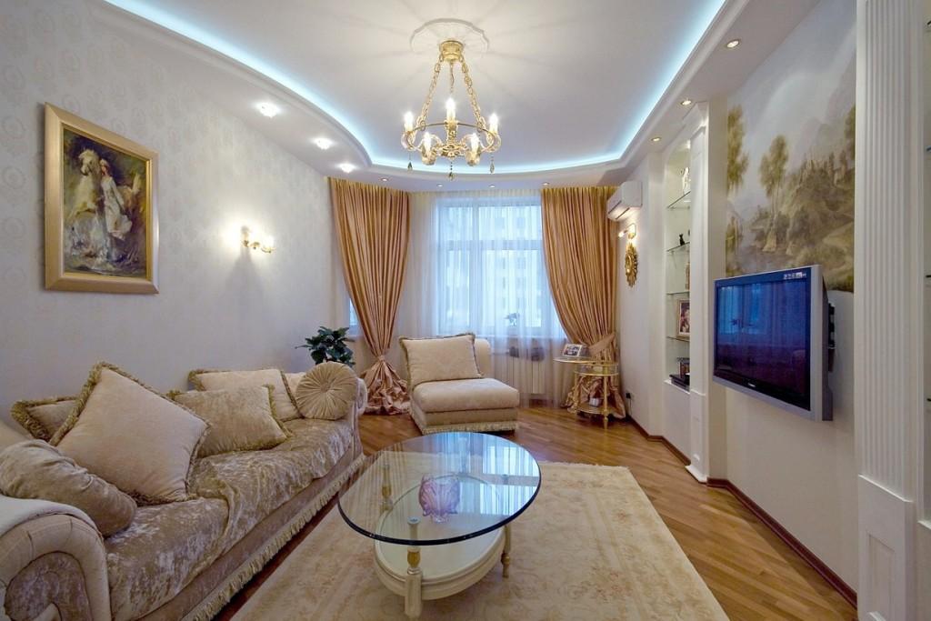 Подсветка потолка в гостиной комнате стиля классика