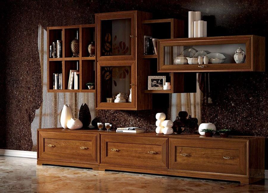 Мебельная стенка с подвесными шкафами в стиле классика