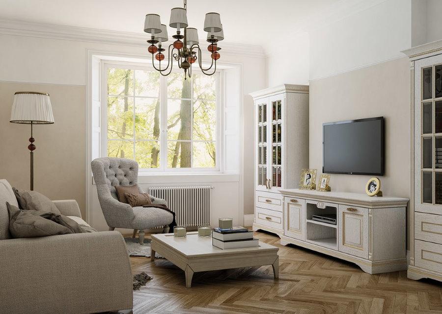 Фото гостиной комнаты с комодом под телевизором