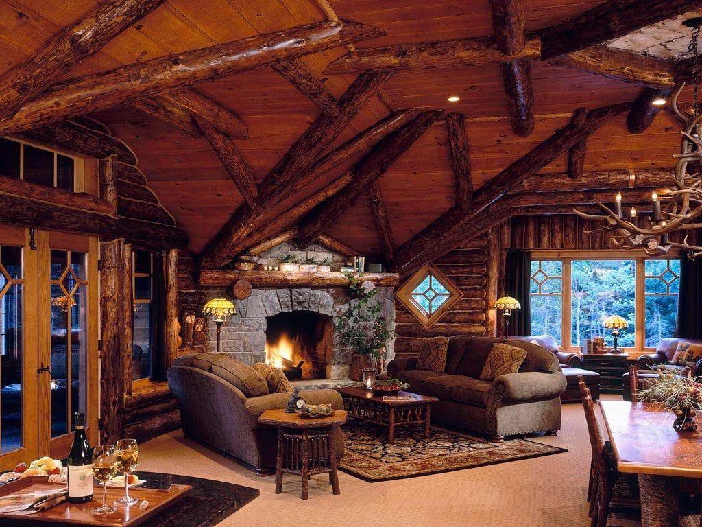 Оформление зоны отдыха в гостиной охотничьего домика
