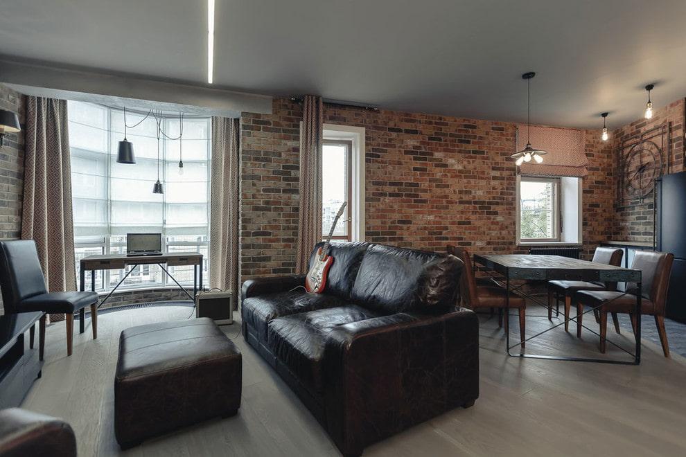 Мягкая мебель в гостиной индустриального стиля