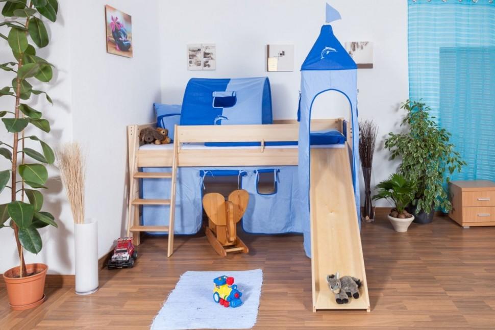 Голубой текстиль на детской кровати с горкой