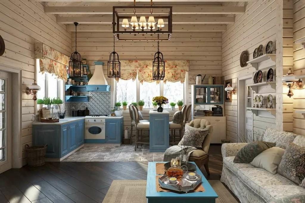 Стены из бруса в кухне-гостиной деревянного дома