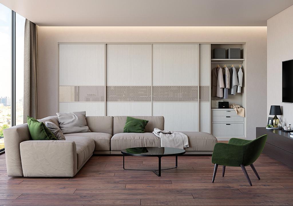 Купейный шкаф в гостиной с угловым диваном