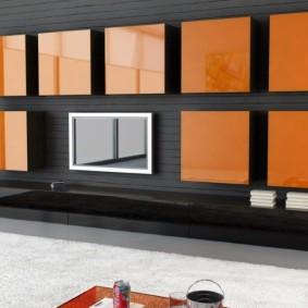 Яркие навесные шкафы квадратной формы