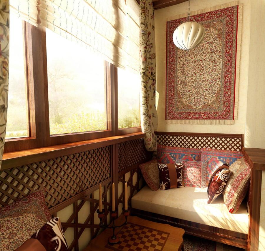 Деревянные окна на балконе в африканском стиле