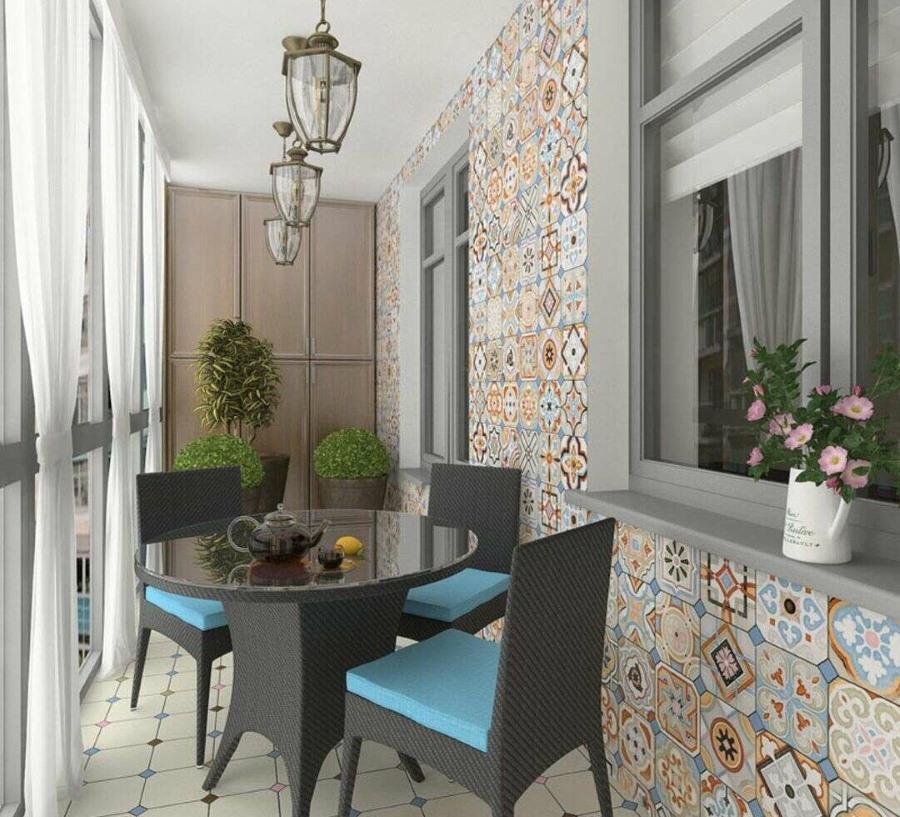 Дизайн лоджии в квартире средиземноморского стиля