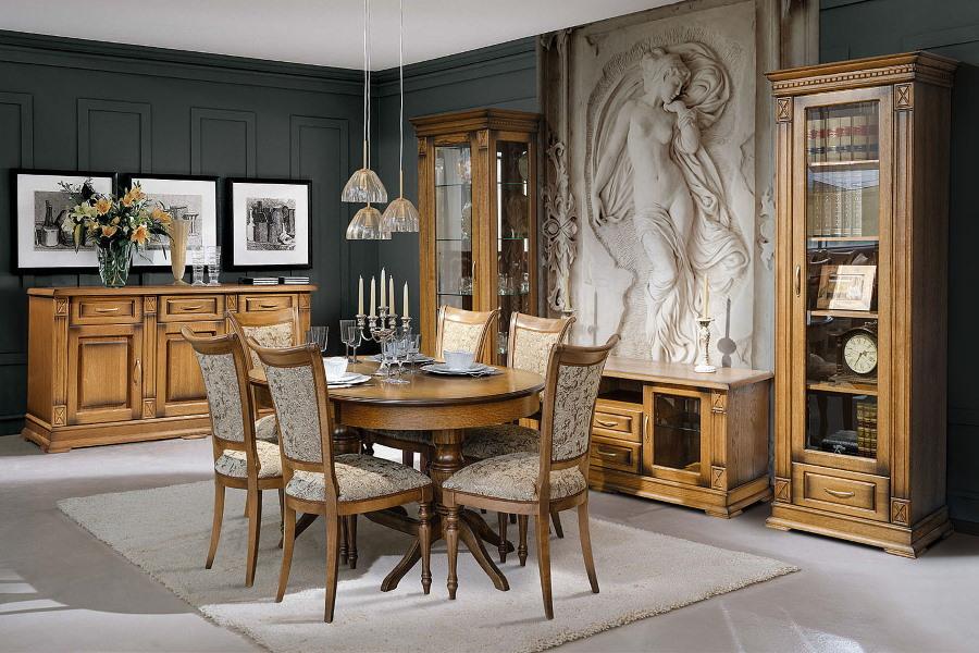 Набор мебели из дуба для просторной гостиной