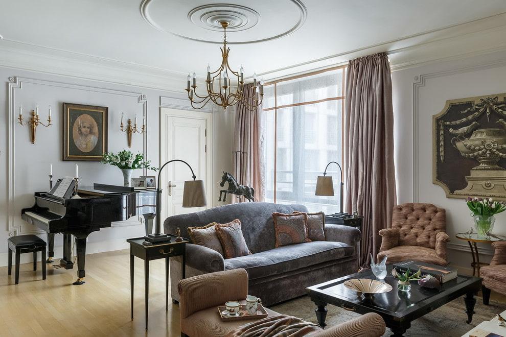 Зонирование гостиной прямым диваном