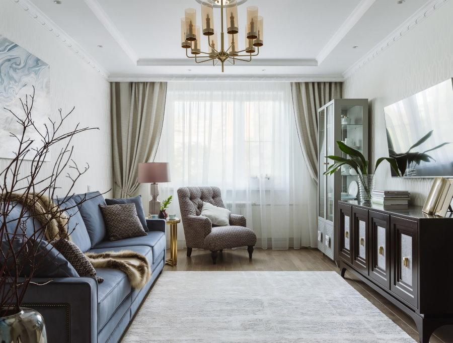Расположение мебели в прямоугольной гостиной