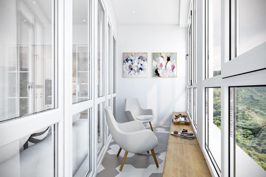 Светлый балкон в стиле минимализма