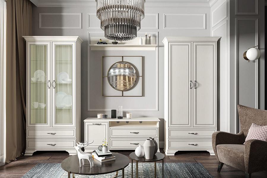 Модульные шкафы в гостиной стиля классики
