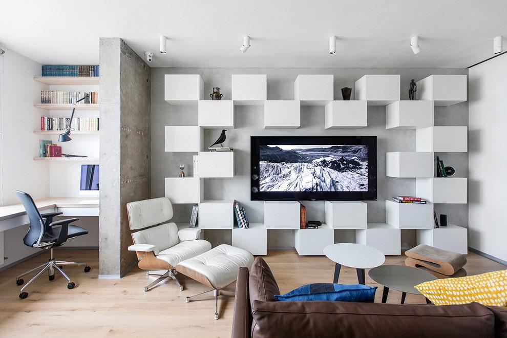 Модульные шкафчики вокруг телевизора в гостиной