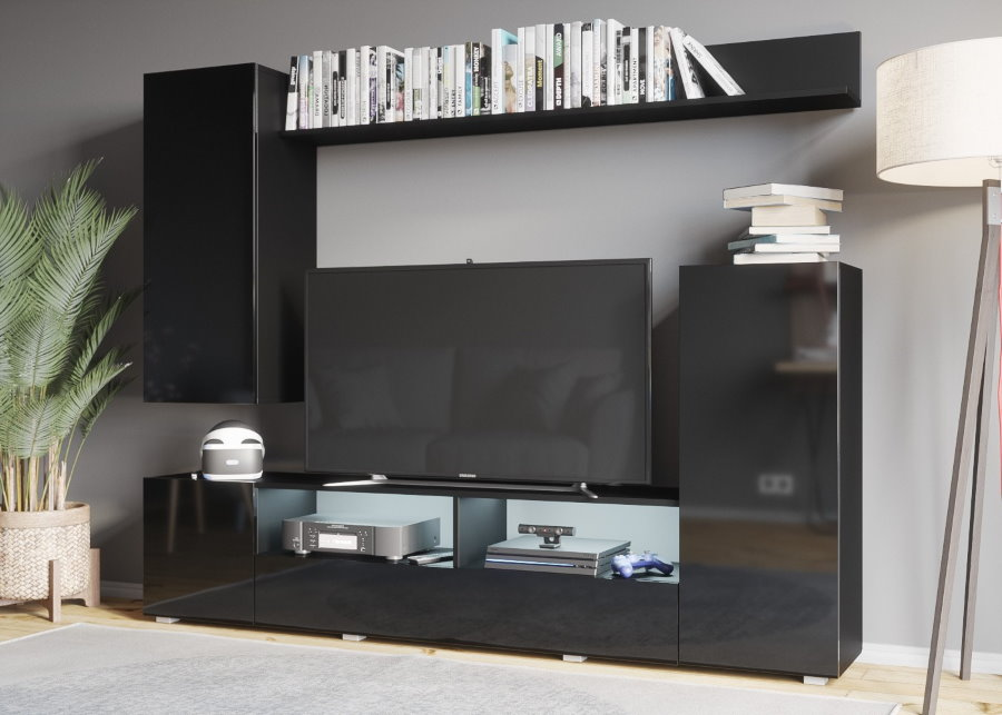 Черная мультимедийная стенка с отсеками под аппаратуру
