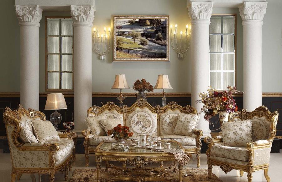 Мягкая мебель в зале стиля рококо