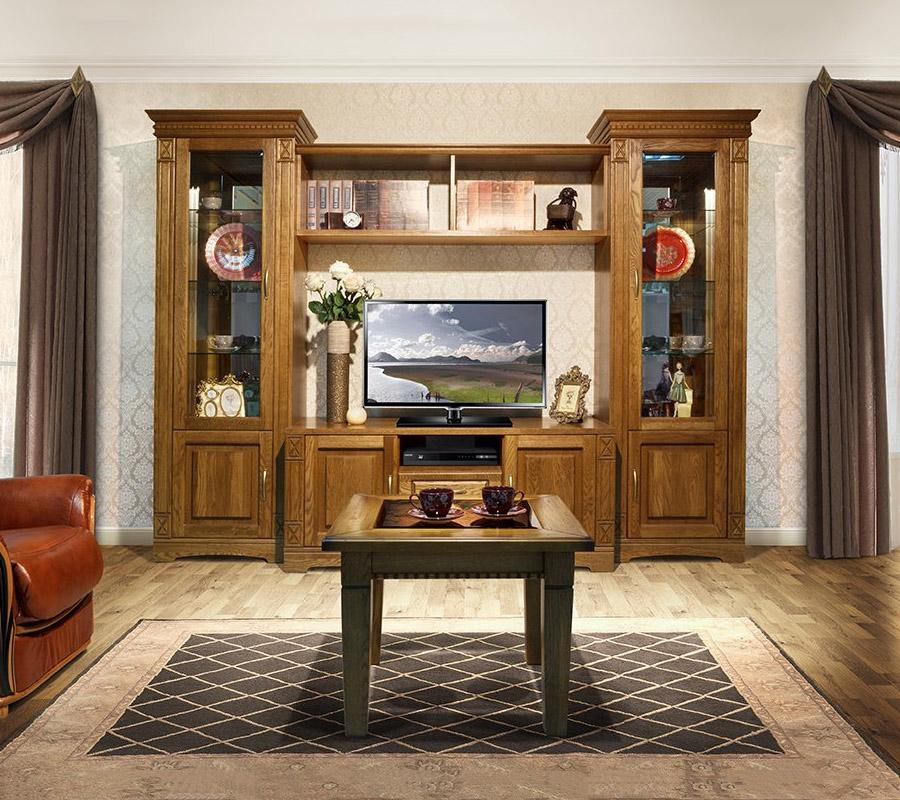 Недорогая стенка из сосны в гостиной комнате