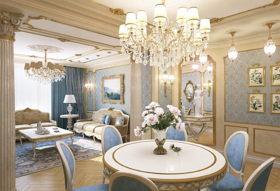 Люстра над обеденным столом в классической гостиной