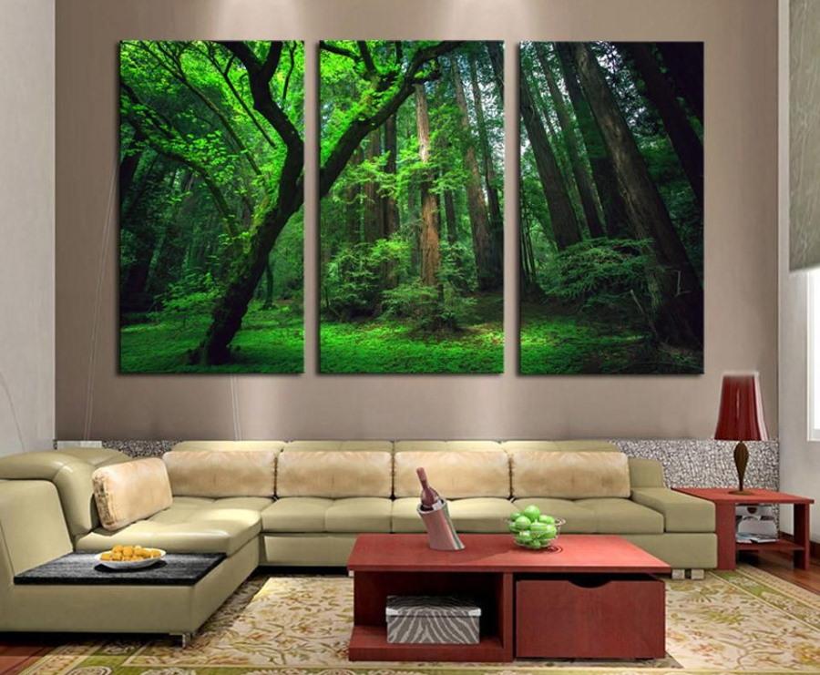Большие модульные картины с изображением леса