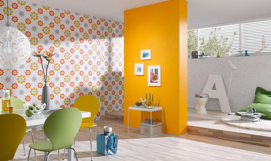 Оранжевые обои компаньоны в интерьере гостиной