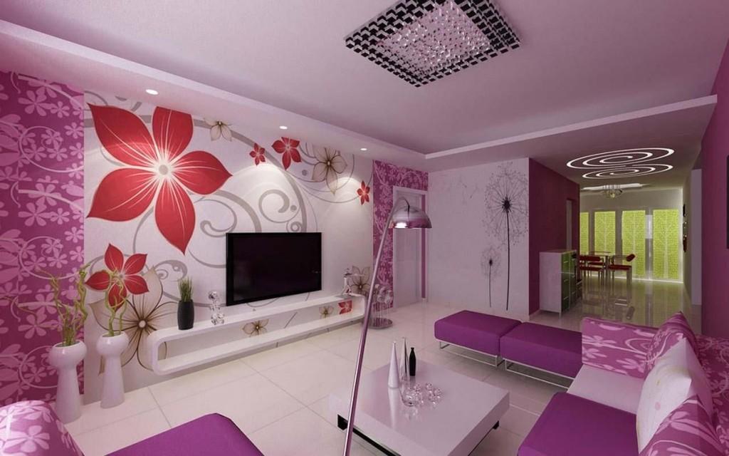Сиреневые обои в гостиной современного стиля