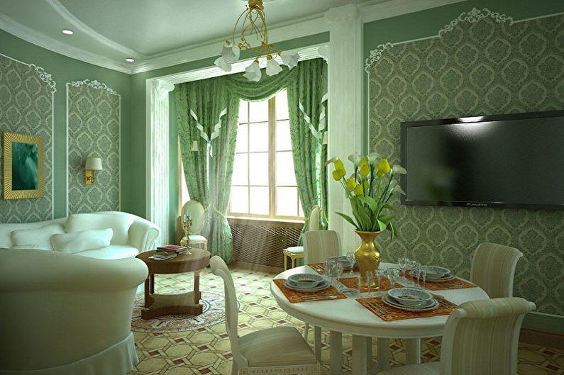 Комбинирование зеленых обоев в гостиной