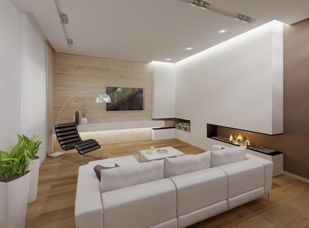 Светлая гостиная комната в стиле хай-тек