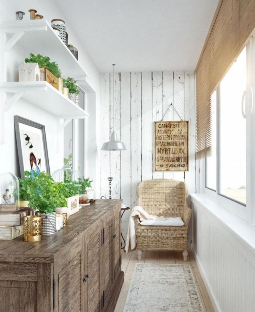 Отделка балконного пространства в деревенском стиле