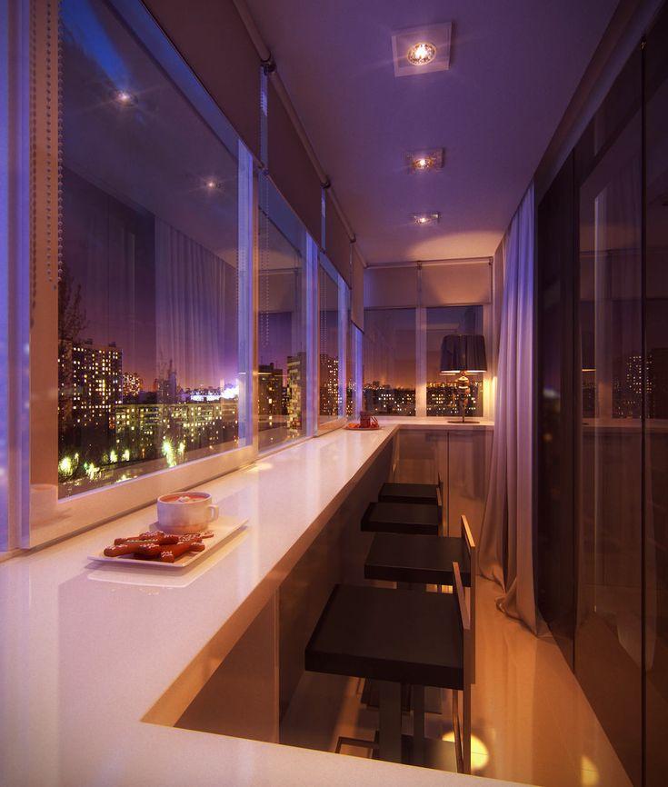 Вечернее освещение балкона в современном стиле