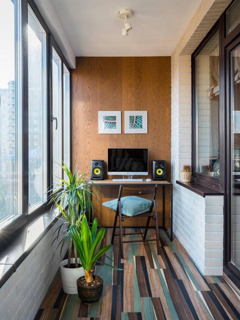 Красивая отделка интерьера утепленного балкона