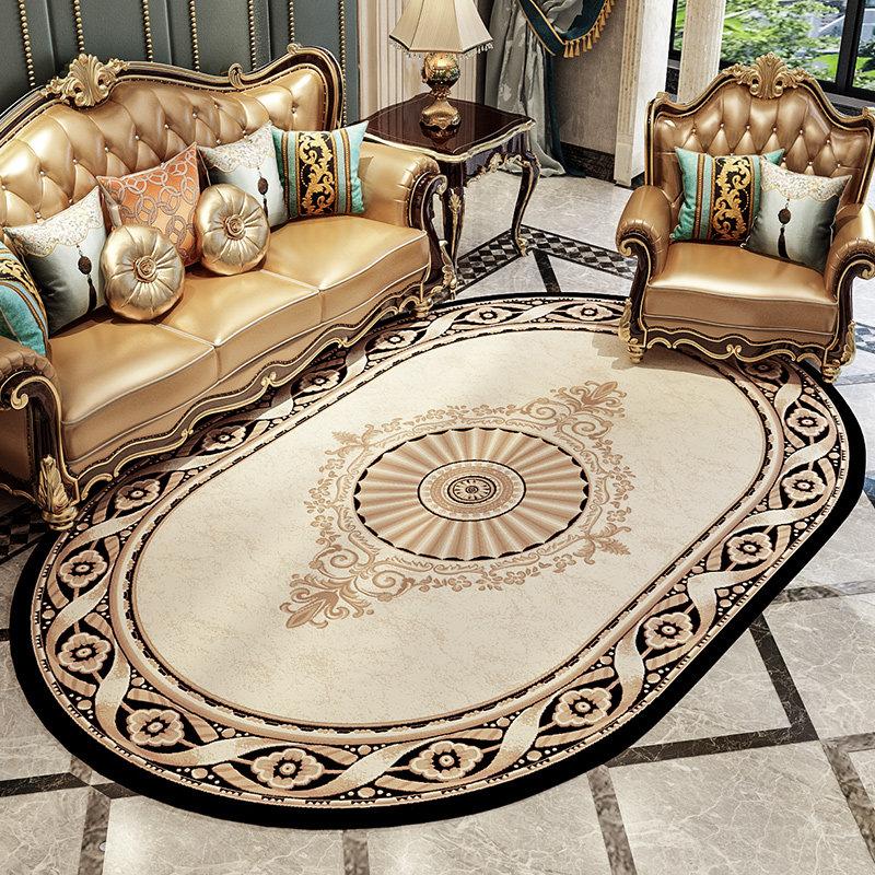 Зонирование гостиной ковром круглой формы