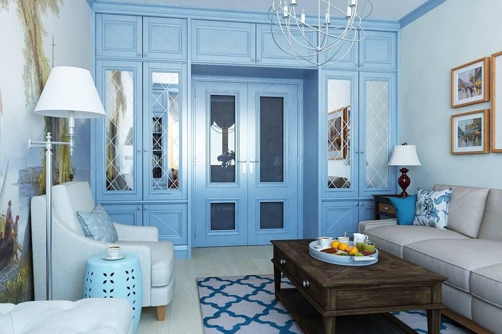 П-образный шкаф с голубыми фасадами