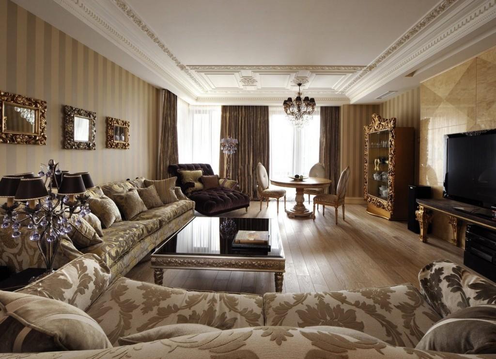 Отделка потолка в гостиной с классической мебелью