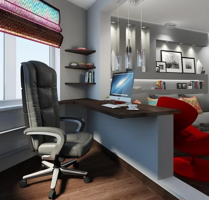 Рабочий стол в гостиной с присоединенным балконом