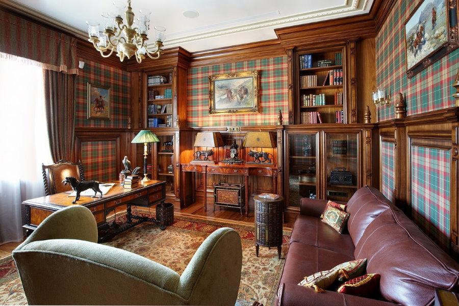 Деревянная мебель в гостиной с рабочим местом
