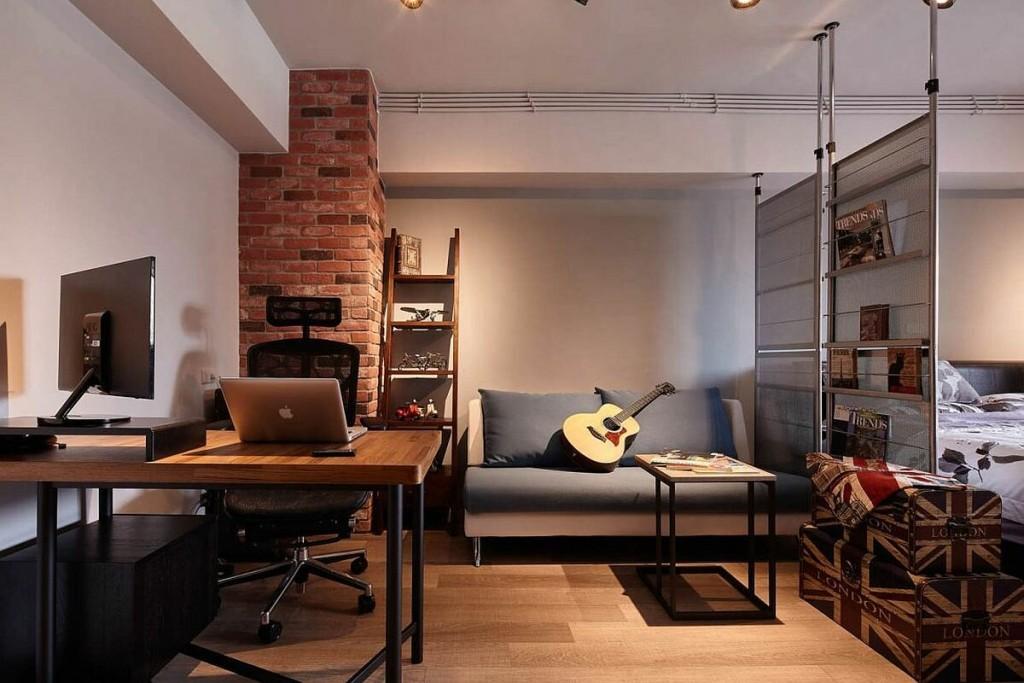 Декорирование кабинета в гостиной индустриального стиля